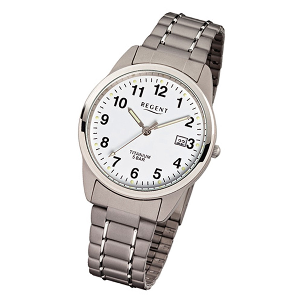 Regent Herren-Armbanduhr Mineralglas Quarz Titan grau silber URF432