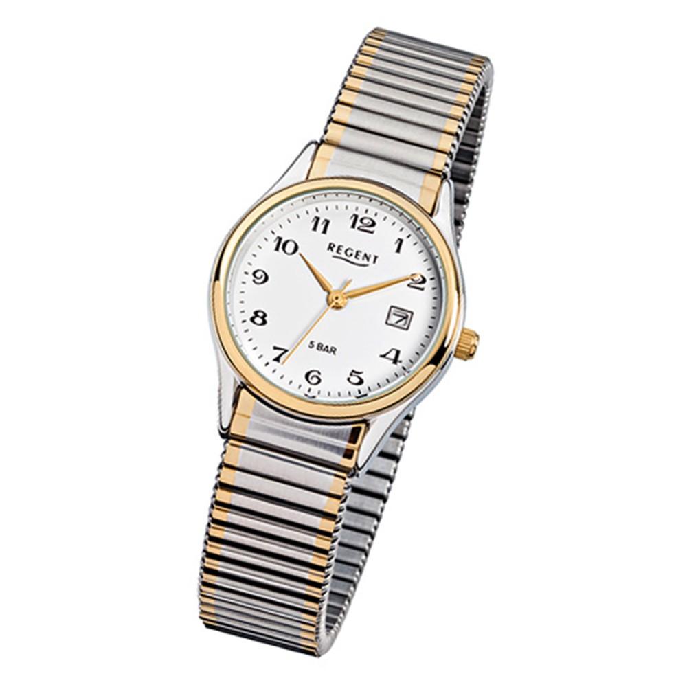 Regent Damen, Herren-Armbanduhr F-461 Quarz-Uhr Stahl-Armband silber gold URF461