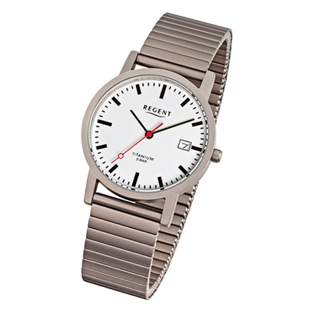 Regent Damen, Herren-Armbanduhr F-475 Quarz-Uhr Titan-Armband silber grau URF475