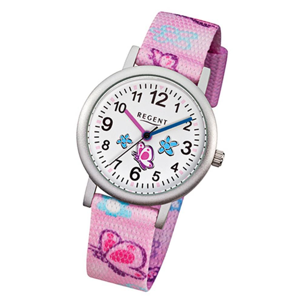 Regent Kinder-Armbanduhr - Schmetterling - Quarz Textil rosa Mädchen Uhr URF491