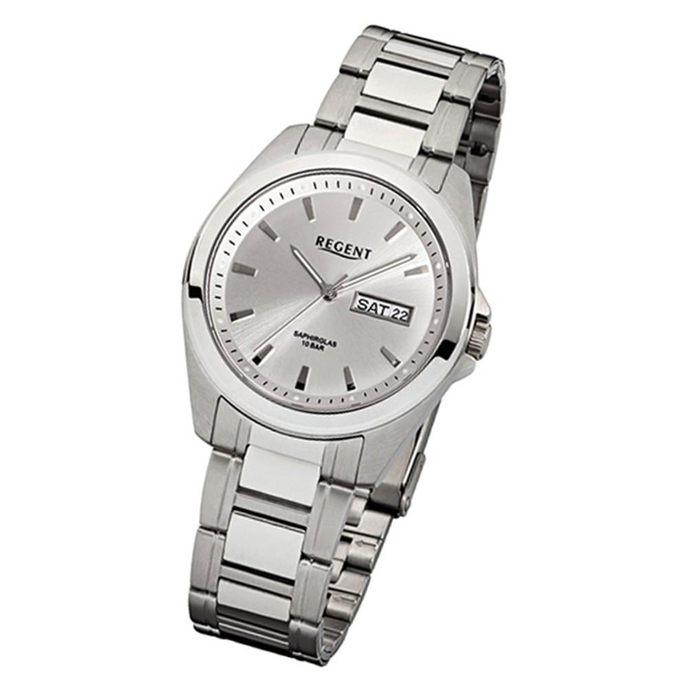 Regent Herren-Armbanduhr F-525 Quarz-Uhr Stahl-Armband silber weiß URF525