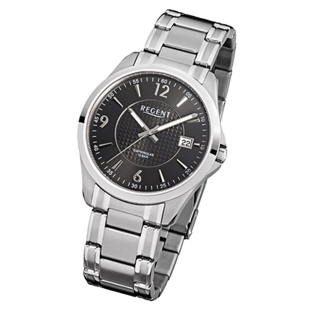 Regent Herren-Armbanduhr F-527 Quarz-Uhr Stahl-Armband silber URF527