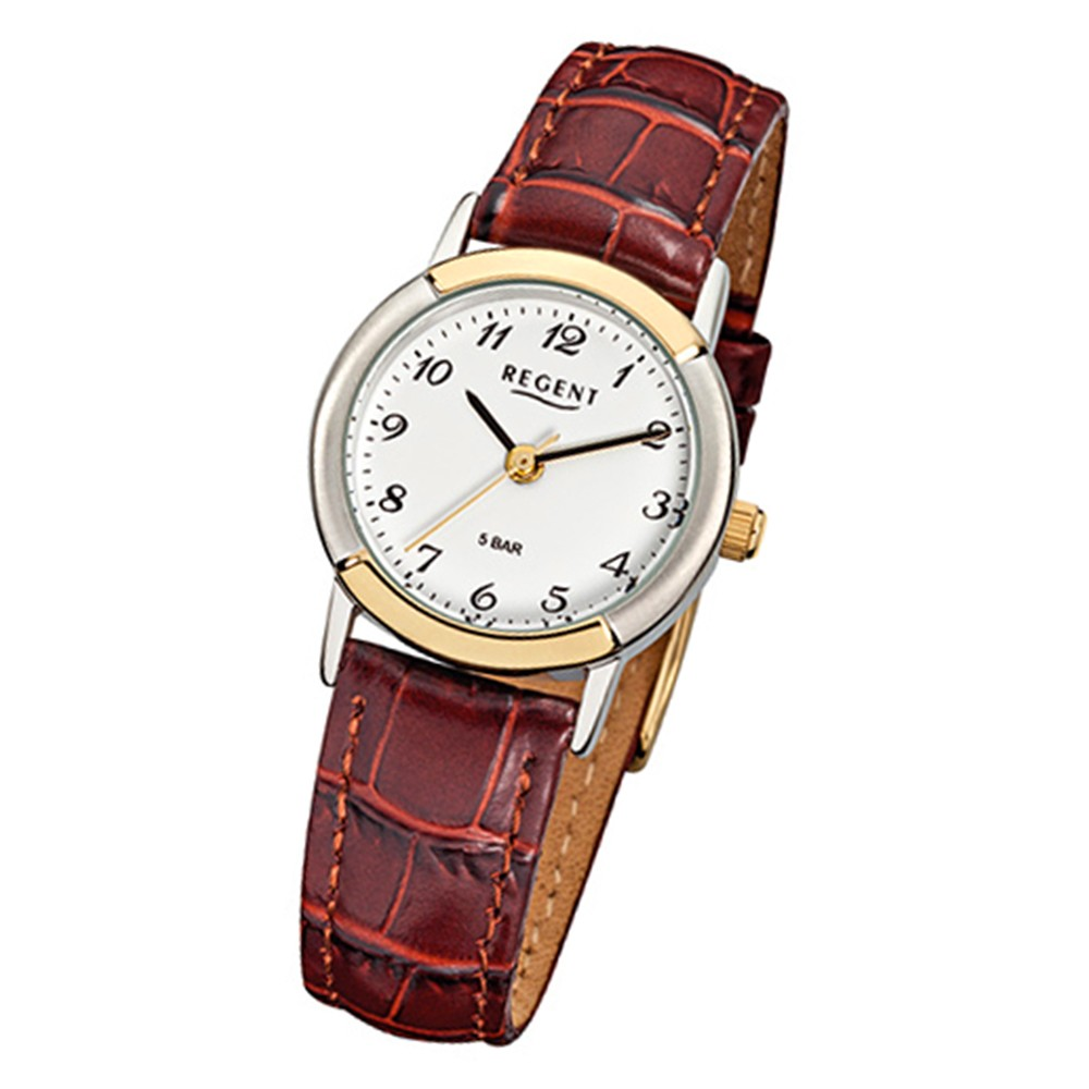 Regent Damen-Armbanduhr F-576 Quarz-Uhr Leder-Armband braun URF576