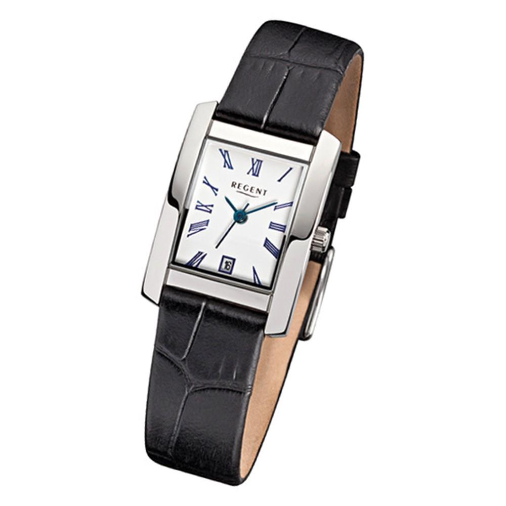 Regent Damen-Armbanduhr Quarzwerk Lederarmband schwarz URF585