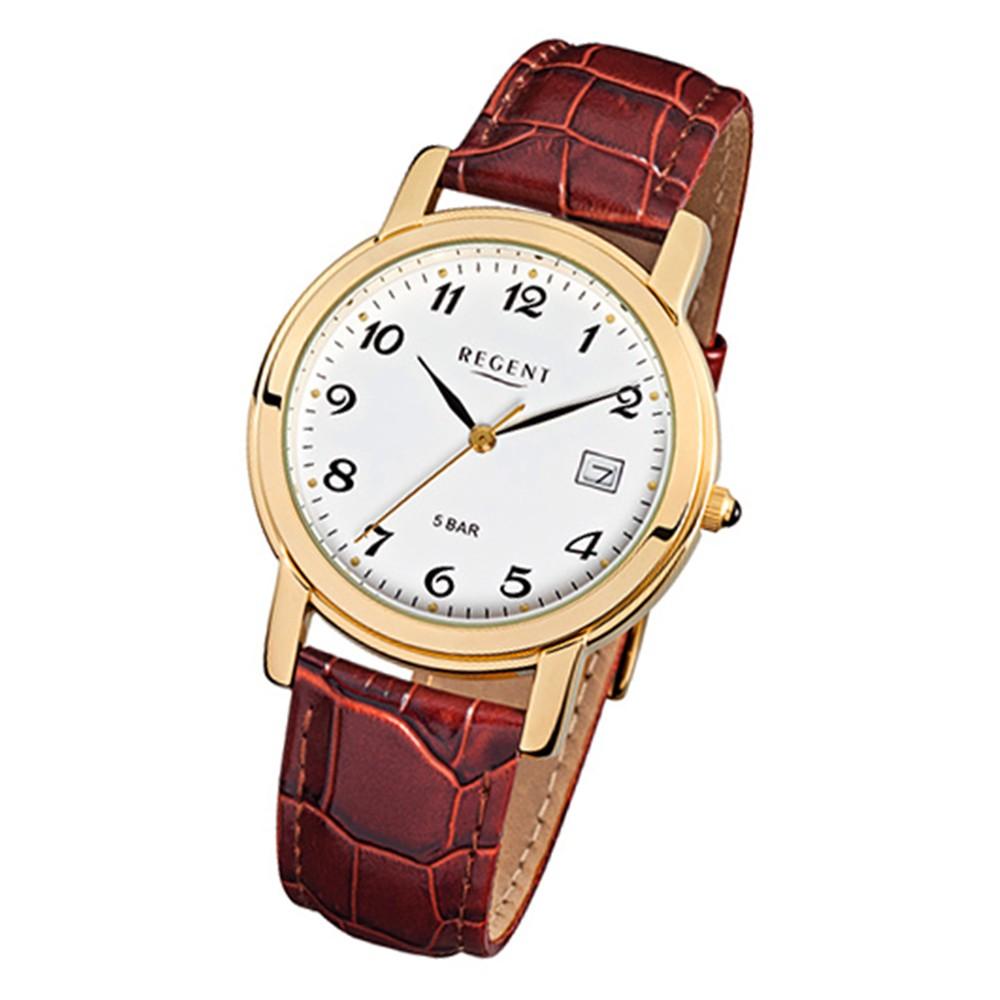 Regent Herren-Armbanduhr F-628 Quarz-Uhr Leder-Armband braun URF628