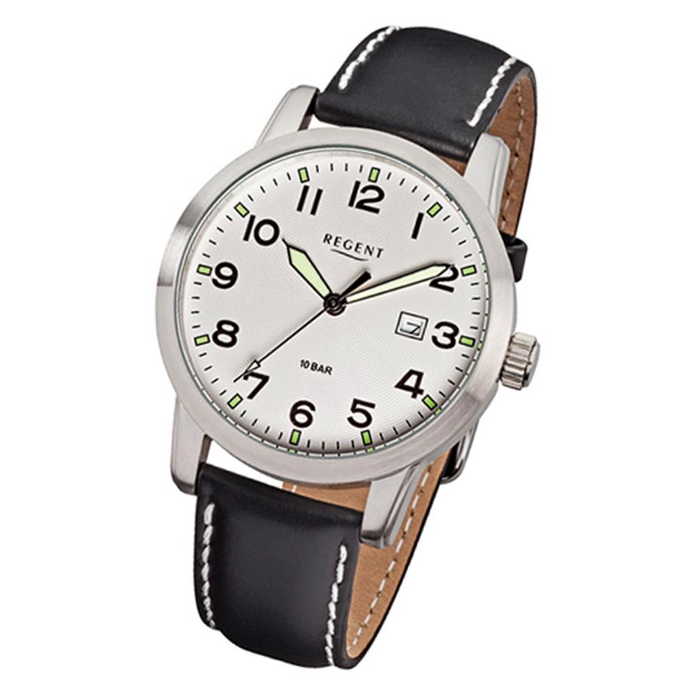 Regent Herren-Armbanduhr F-636 Quarz-Uhr Leder-Armband schwarz URF636