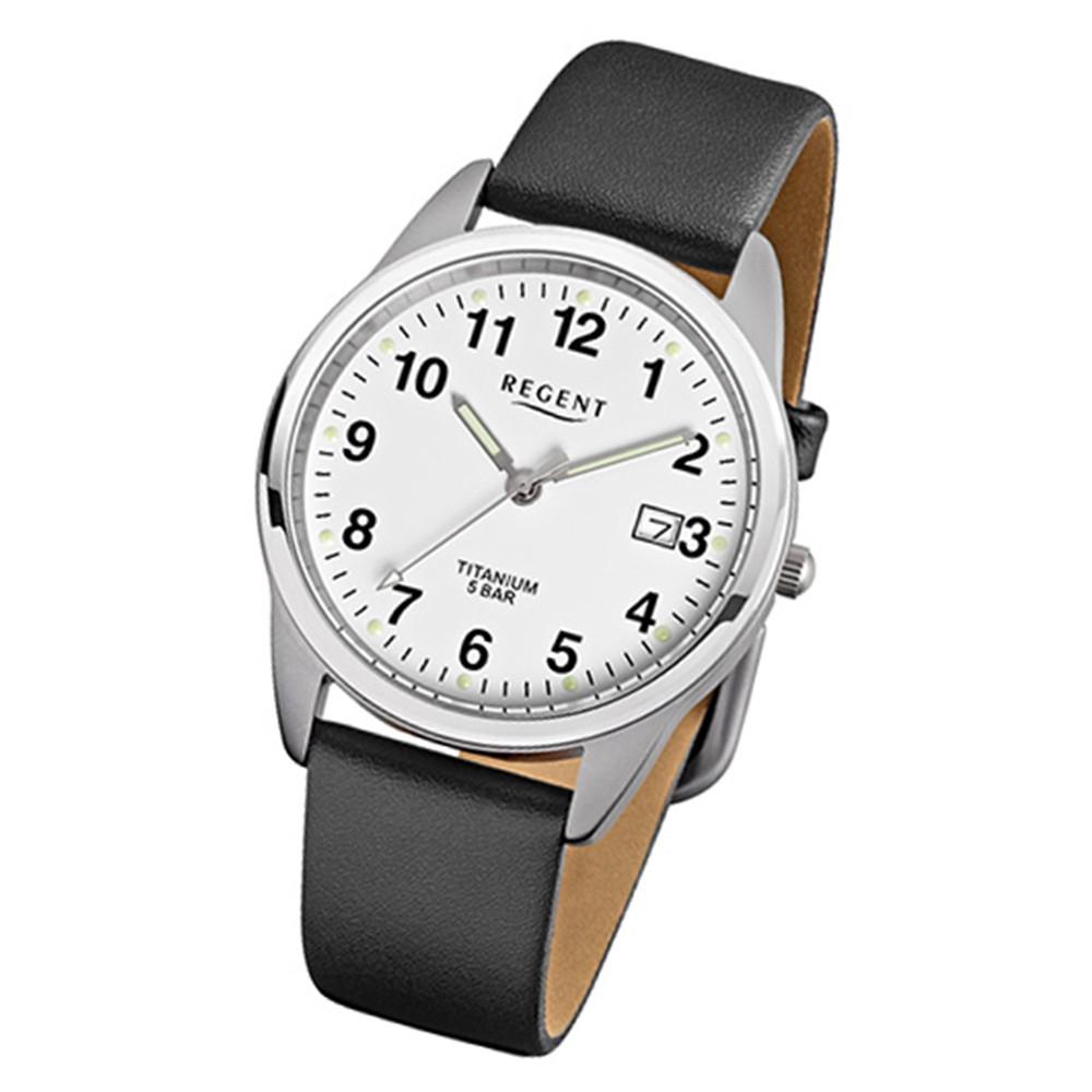 Regent Herren Titan Armbanduhr Quarzwerk Lederarmband schwarz URF685