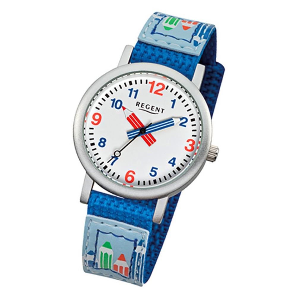 Regent Armbanduhr Kinder Aluminium Quarz Stifte Textil blau Jungen Uhr URF731