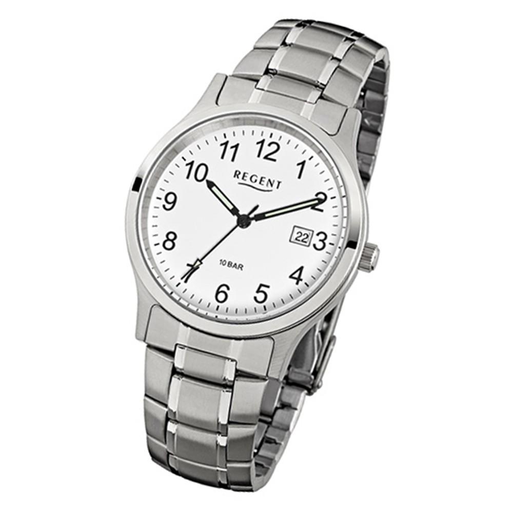 Regent Herren-Armbanduhr - Metallarmband - Quarz Edelstahl silber, grau URF775