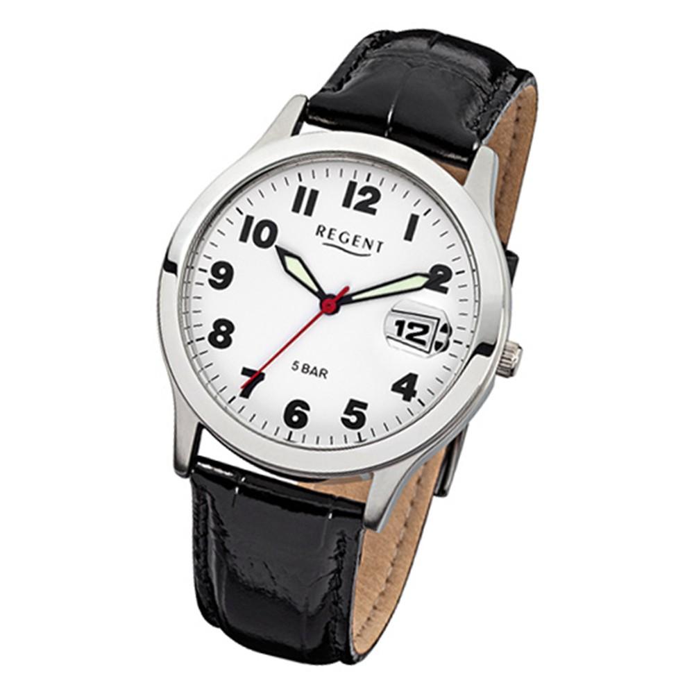 Regent Herren-Armbanduhr Mineralglas Quarz Leder schwarz URF788