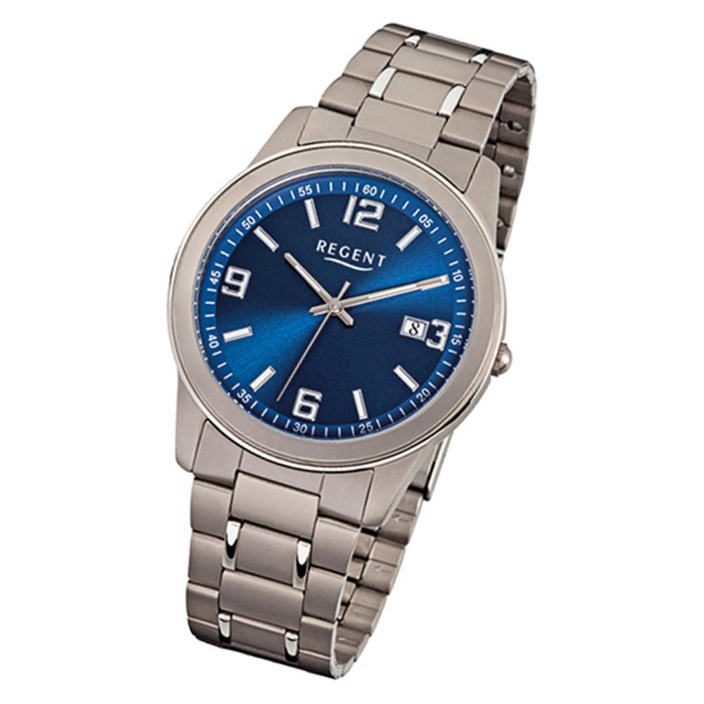 Regent Herren-Armbanduhr Mineralglas Quarz Titan grau silber URF840