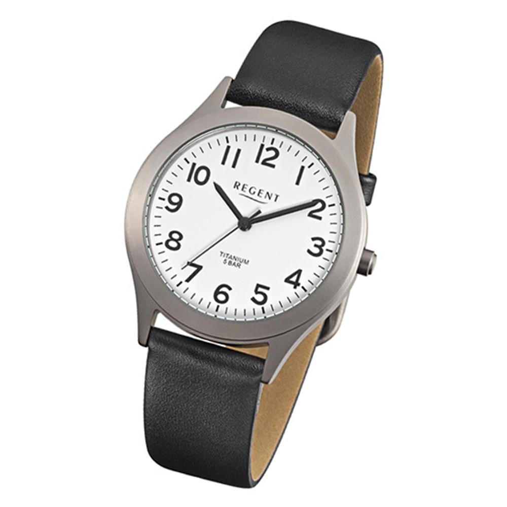 Regent Herren-Armbanduhr F-842 Titan-Uhr Leder-Armband schwarz URF842