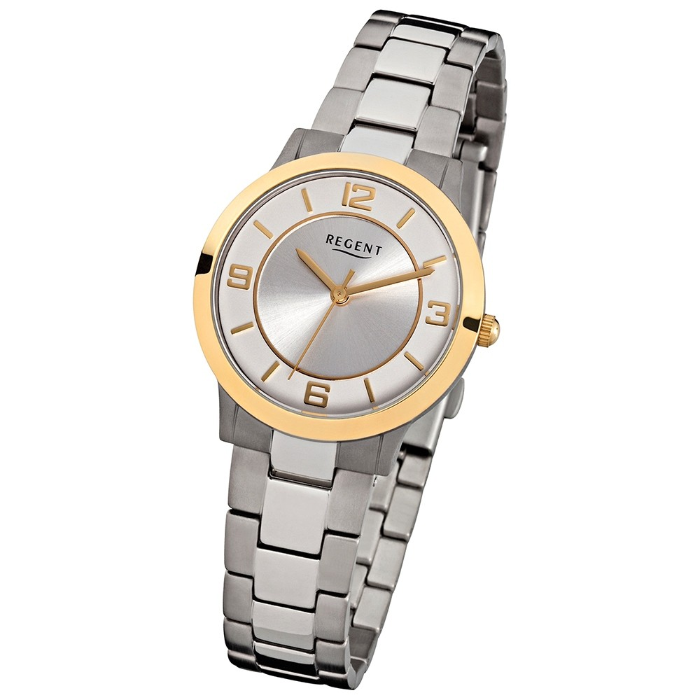 Regent Damen Armbanduhr Titan Uhr Mineralglas Quarzwerk silber grau URF861