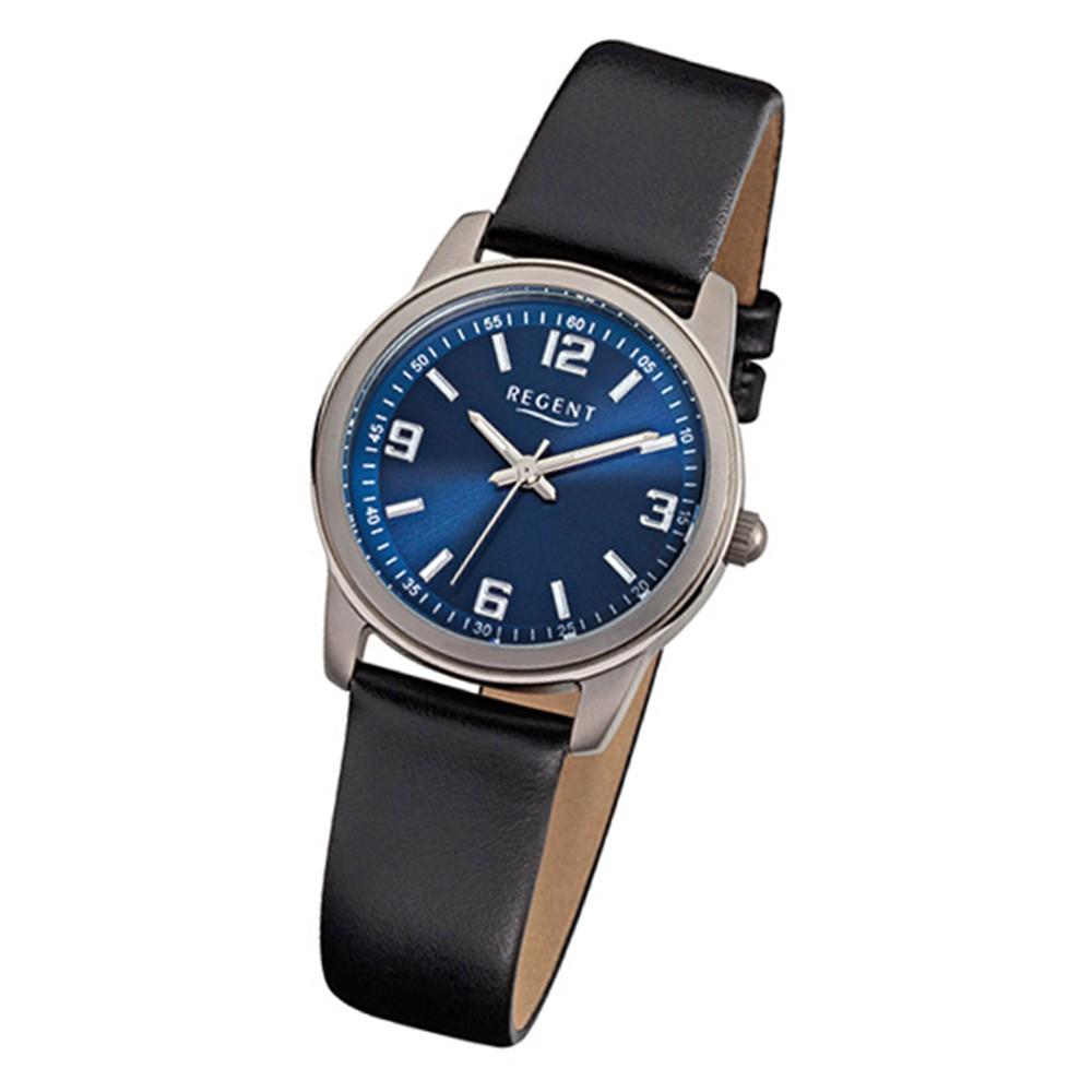 Regent Damen-Armbanduhr F-867 Titan-Uhr Leder-Armband schwarz URF867