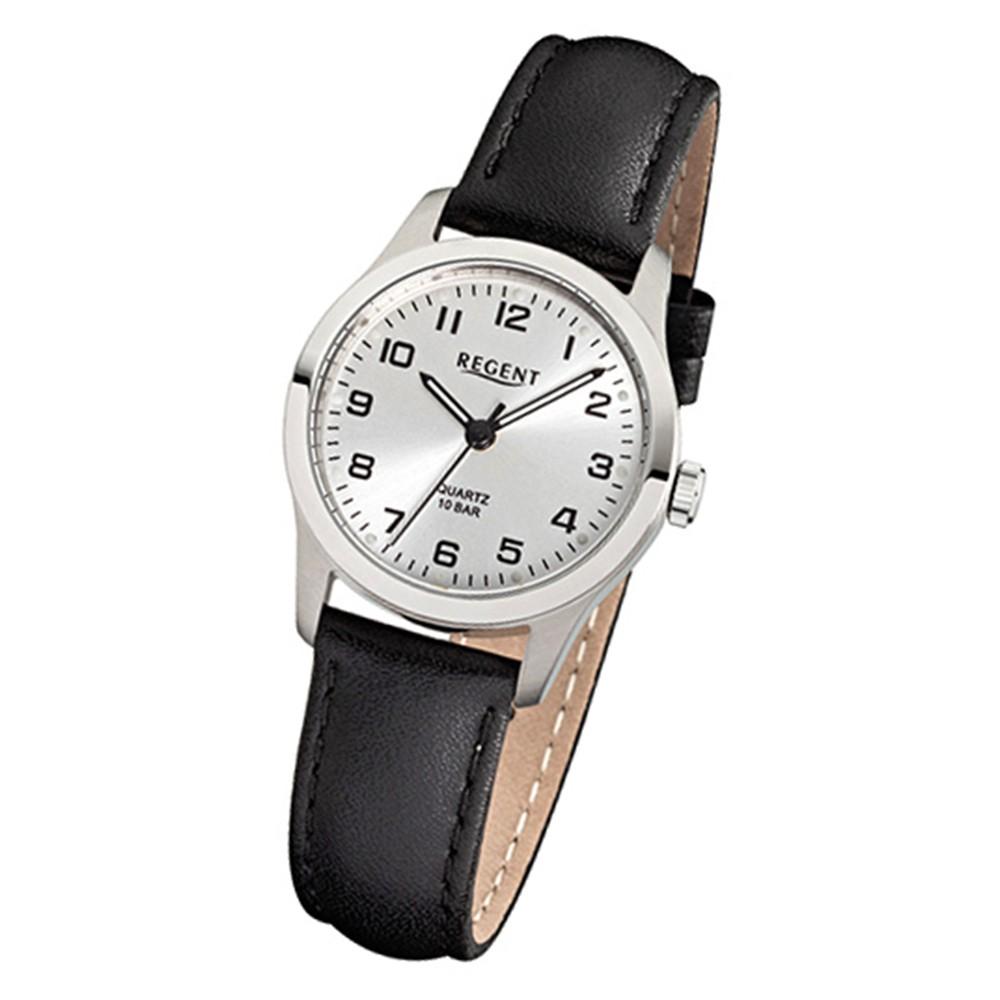 Regent Damen-Armbanduhr Titan-Uhr Quarz Leder schwarz Leuchtzeiger Uhr URF899