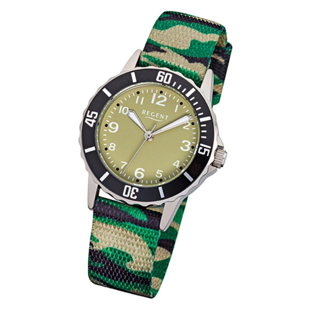 Regent Kinder-Uhr - Kinderuhren - Quarz Textil grün, schwarz, beige URF938