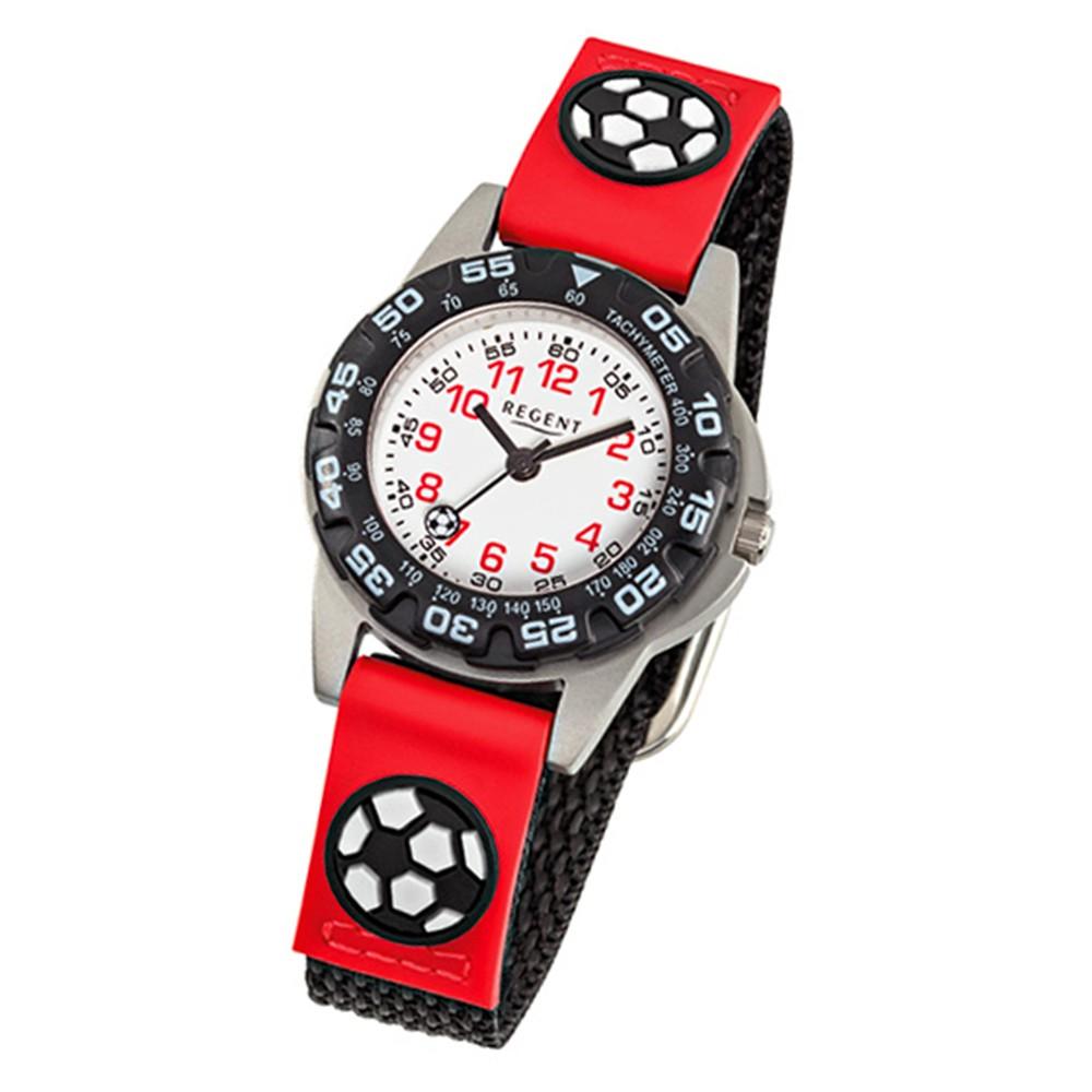 Regent Kinderuhr Fußball drehbare Lünette Textil schwarz rot Jungen Uhr URF943