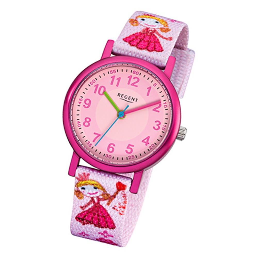 Regent Kinder-Armbanduhr Prinzessin Mineralglas Quarz Textil rosa URF949