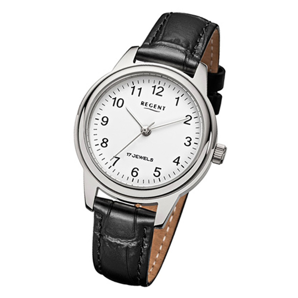 Regent Damen-Armbanduhr Handaufzug Leder schwarz mechanisches Uhrwerk Uhr URF957