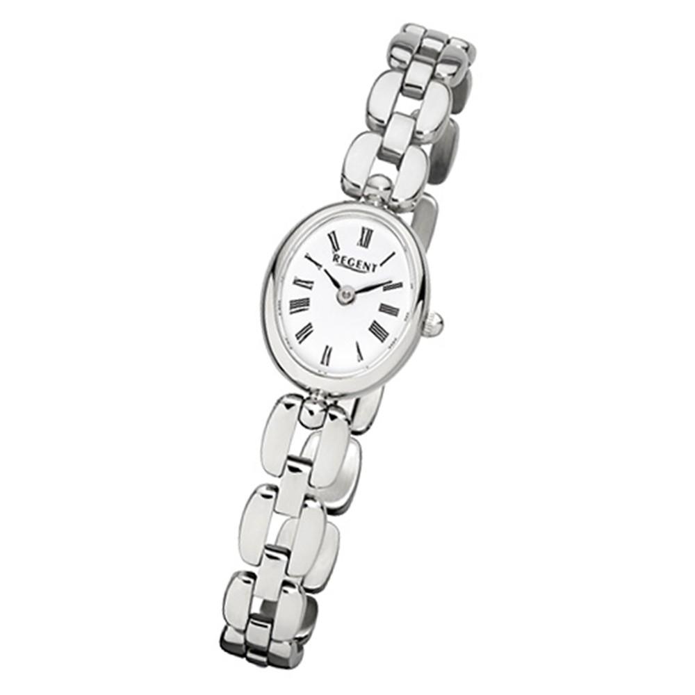 Regent Damen-Armbanduhr F-967 Quarz-Uhr Mini Stahl-Armband silber URF967