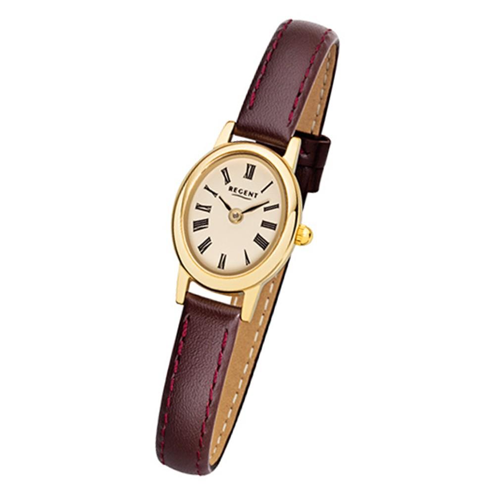 Regent Damen-Armbanduhr F-975 Quarz-Uhr Mini Leder-Armband braun URF975