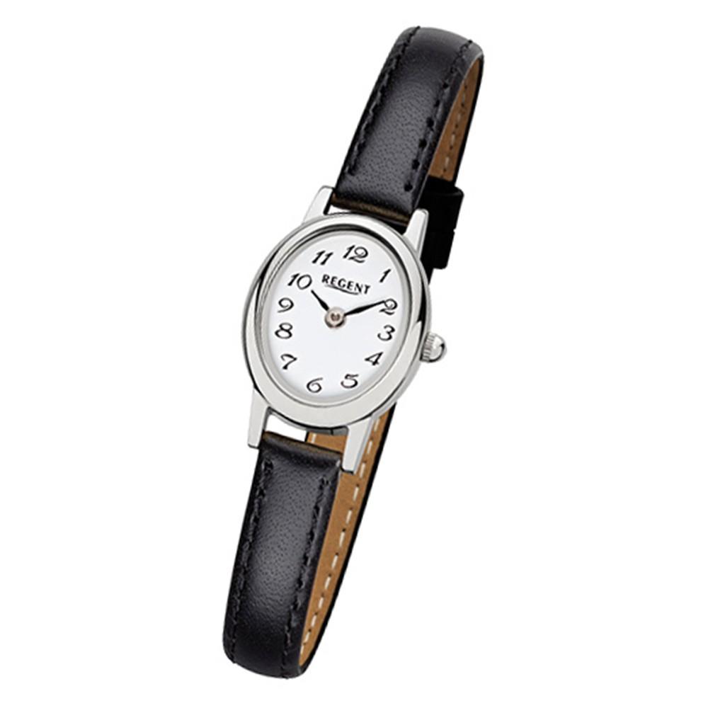 Regent Damen-Armbanduhr F-976 Quarz-Uhr Mini Leder-Armband schwarz URF976