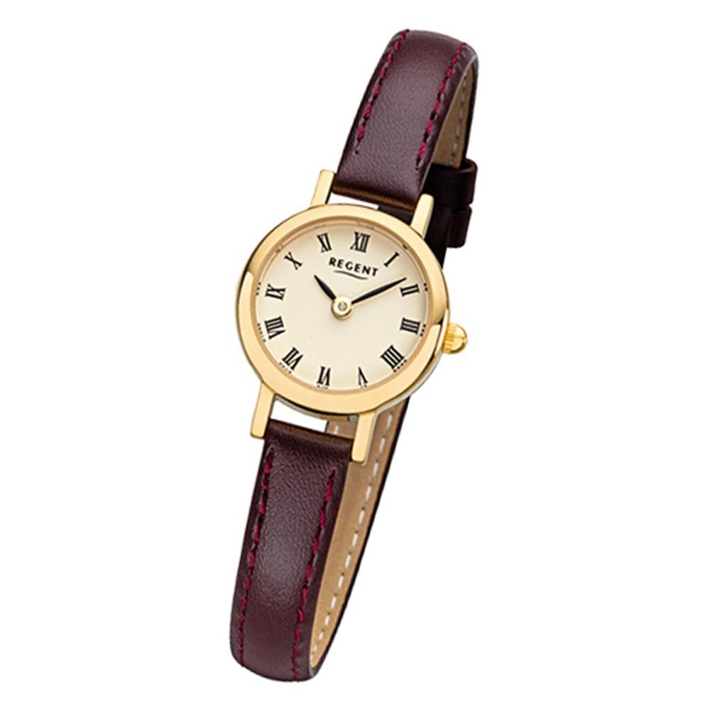 Regent Damen-Armbanduhr F-978 Quarz-Uhr Mini Leder-Armband braun URF978
