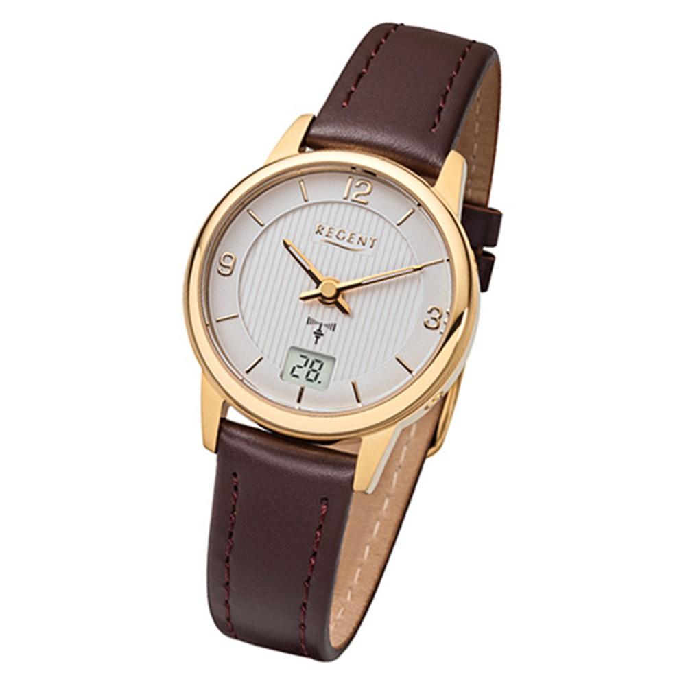 Regent Damen-Armbanduhr FR-197 Funkuhr Leder-Armband braun URFR197
