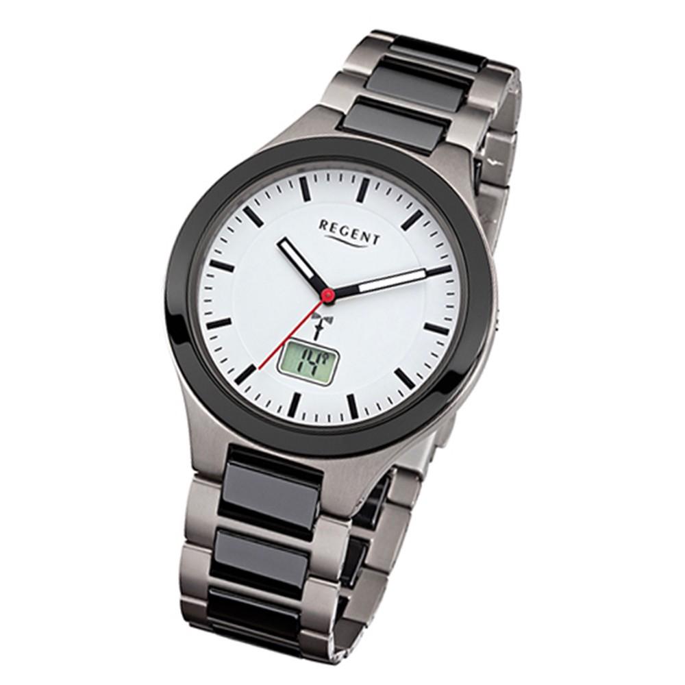 Regent Herren-Uhr FR-218 Funkuhr Titan-Keramik-Armband schwarz grau URFR218