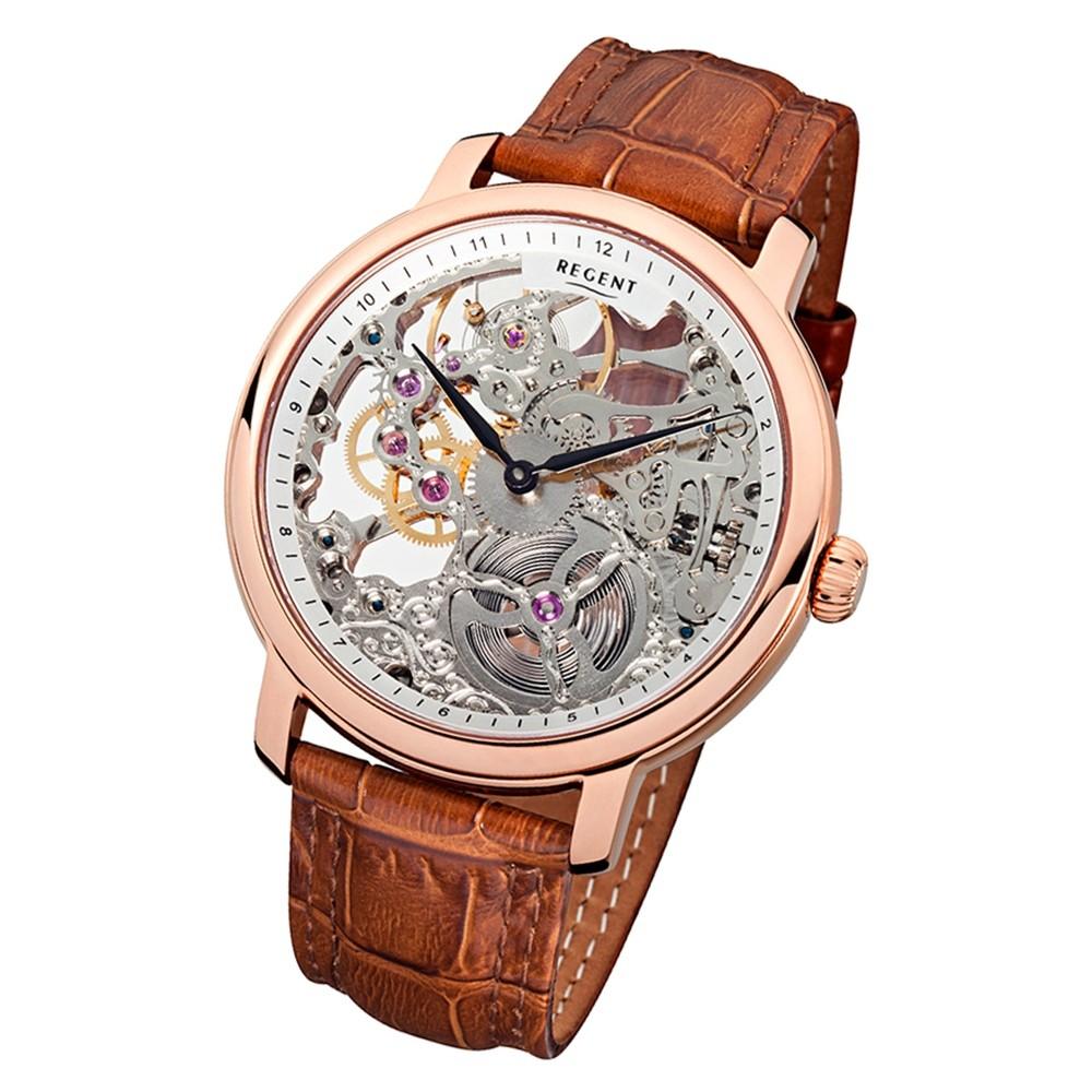 Regent Herren Armbanduhr Analog GM-1430 Handaufzug Leder braun URGM1430