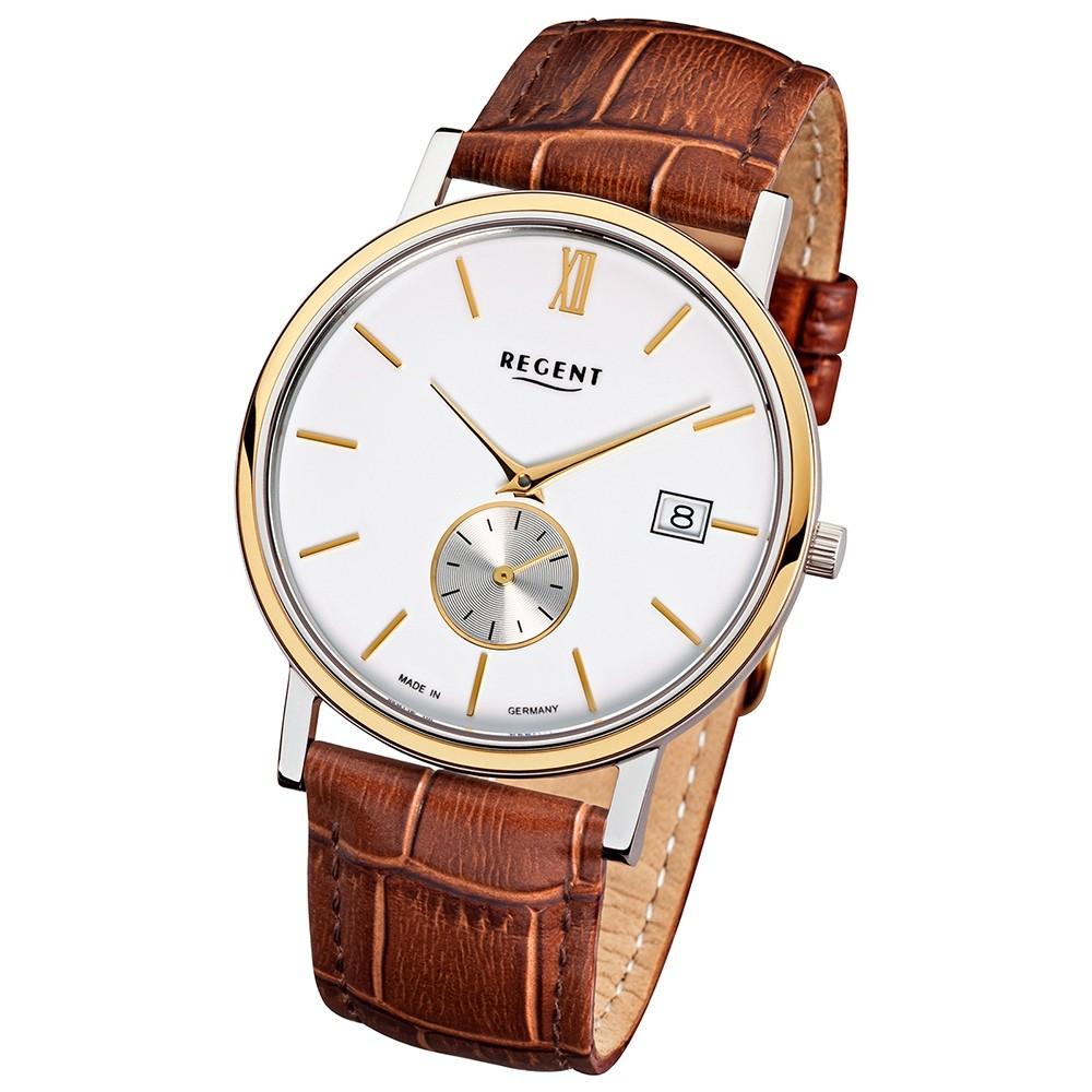 Regent Herren-Armbanduhr Quarz-Uhr Leder-Armband braun Uhr URGM1449