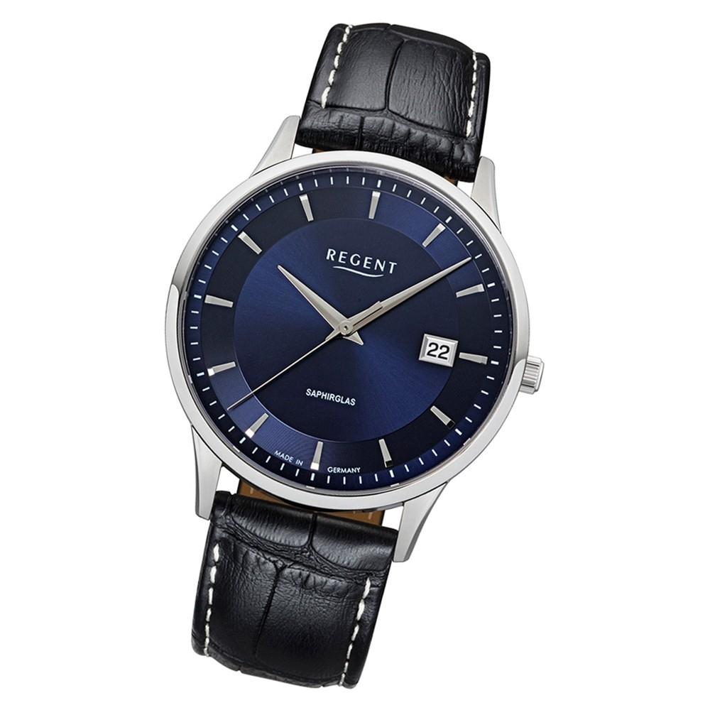 Regent Herren Armbanduhr Analog GM-1610 Quarz-Uhr Leder schwarz URGM1610