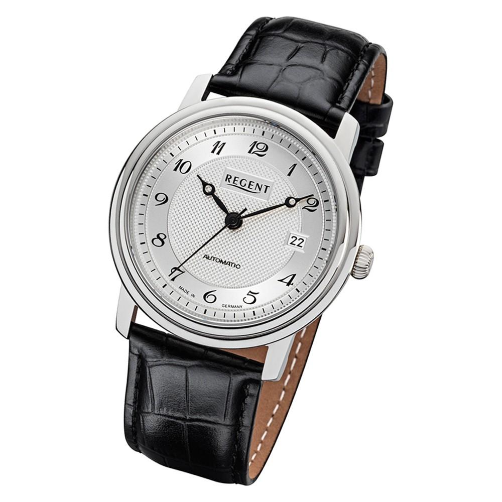Regent Herren Armbanduhr Analog GM-1613 Automatik-Uhr Leder schwarz URGM1613