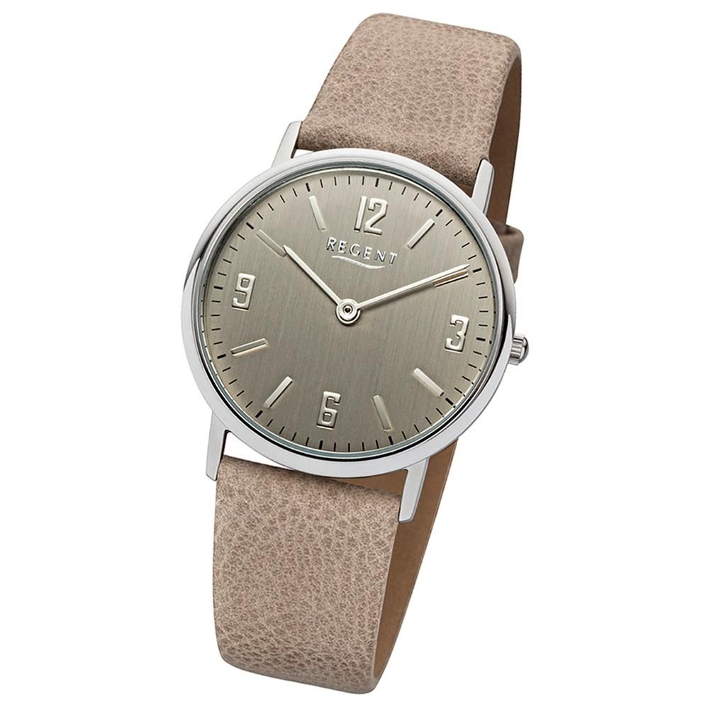 Regent Damen-Armbanduhr Quarz Uhr Leder-Armband beige hellbraun Uhr URLD1610