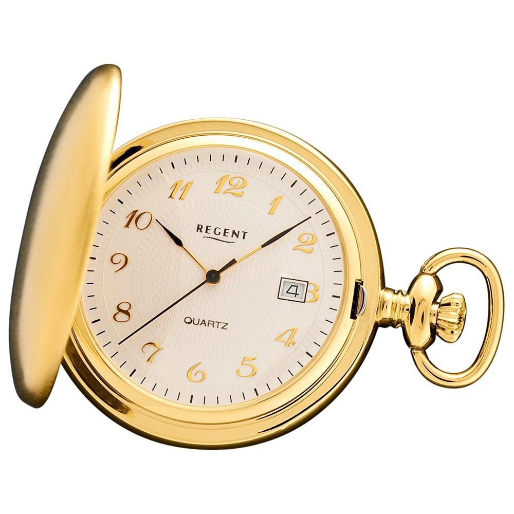 Regent Herren Taschenuhren Quarzwerk vergoldet URP015
