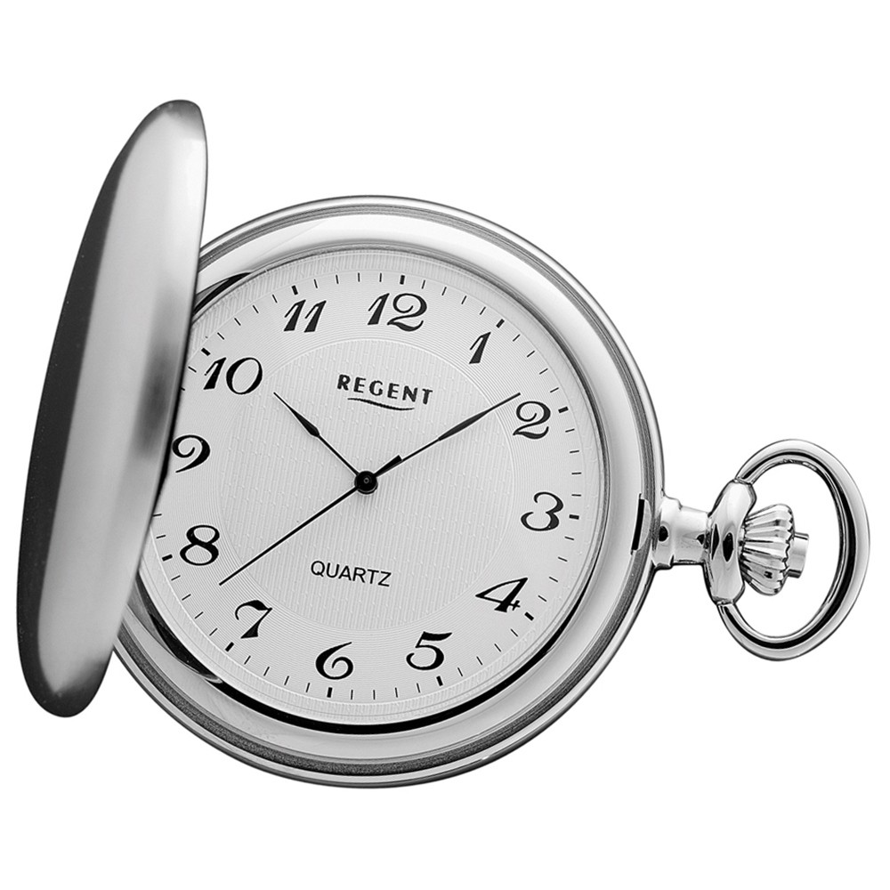 Regent Damen, Herren Quarzwerk Taschenuhren silber verchromt URP021