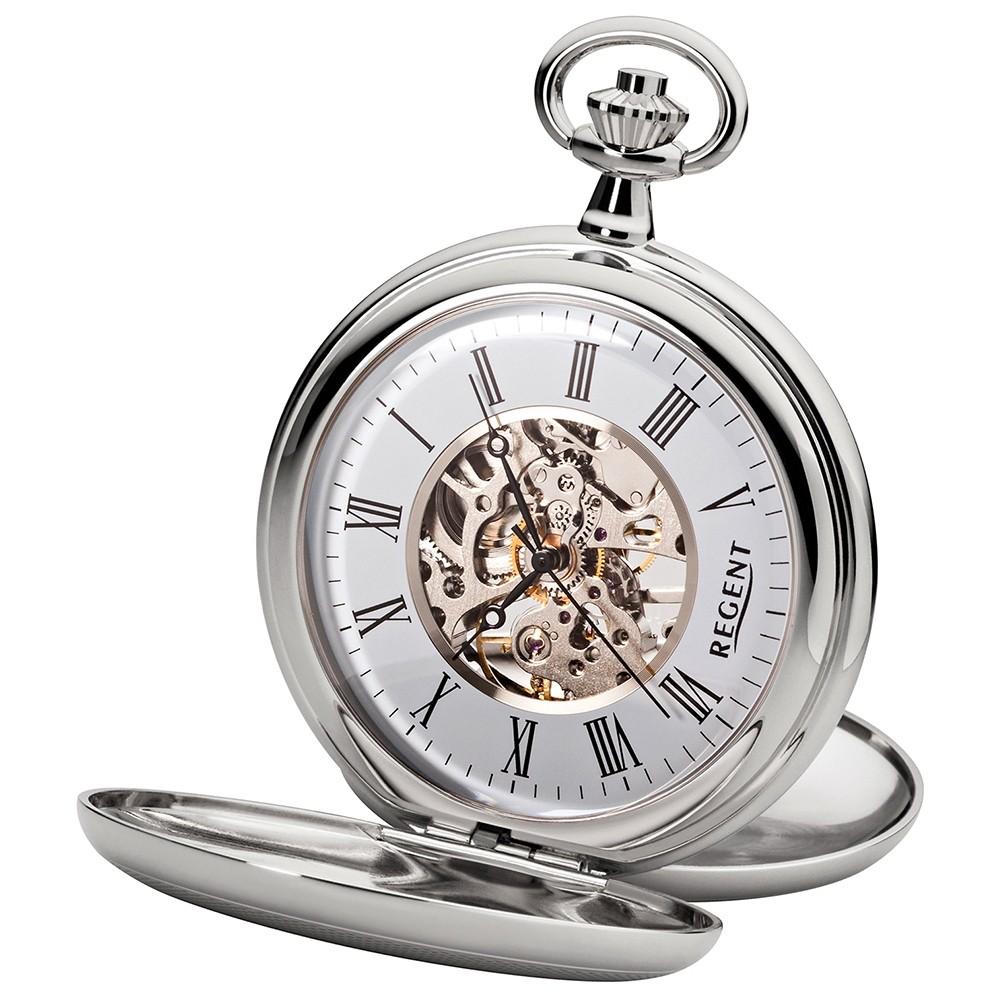 Regent Taschenuhren mechanisch Handaufzug skelettiertes Uhrwerk URP036