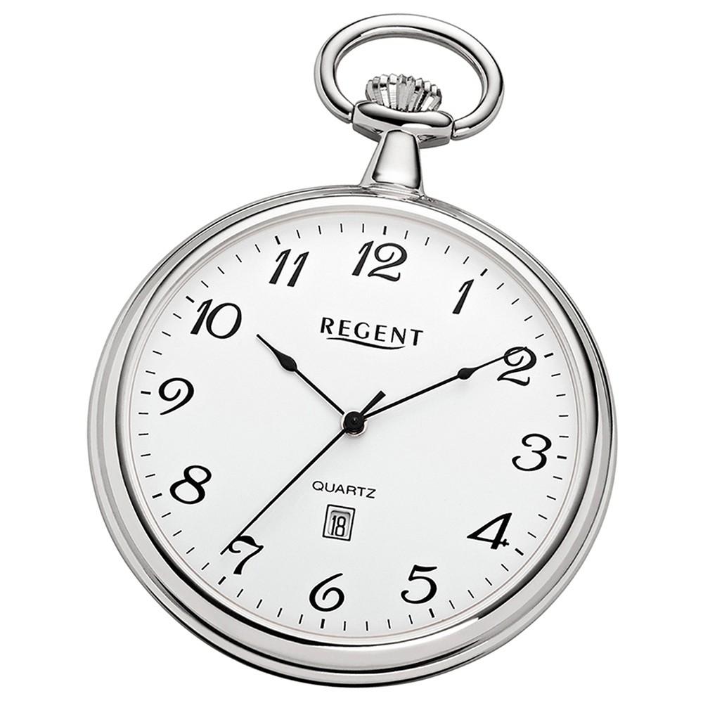 Regent Unisex Taschenuhren super flach verchromt Quarzwerk URP080