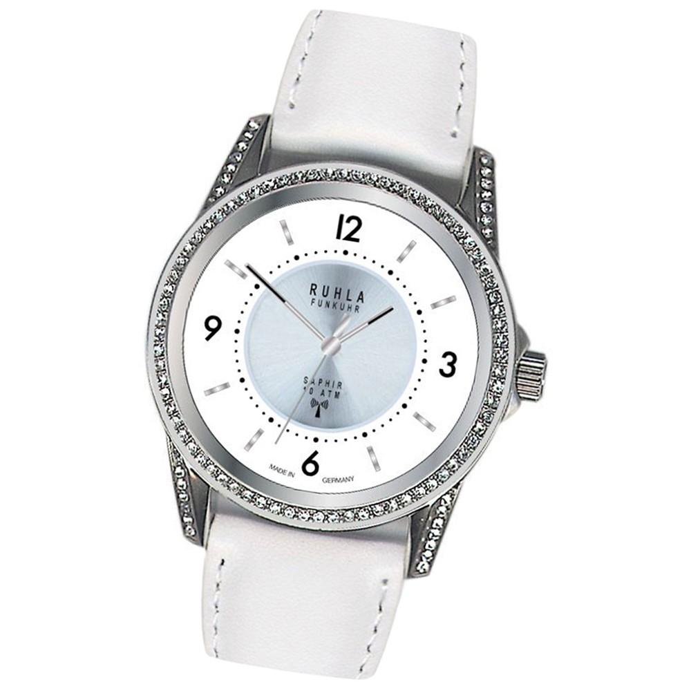 RUHLA Damen-Armbanduhr Funkuhr FU 114-101 ws Lederarmband Uhr URU114101W