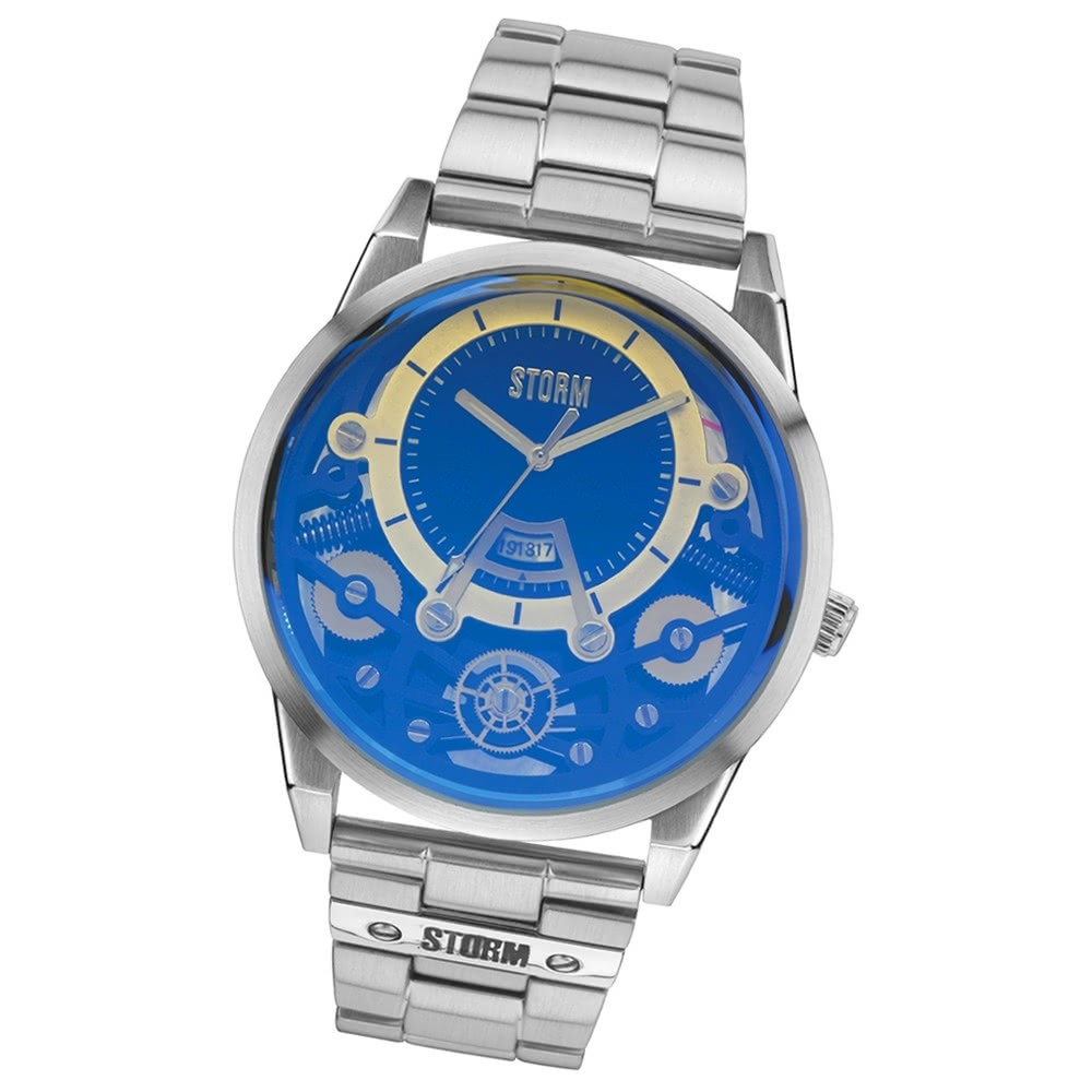 STORM Herrenuhr 3D blau Edelstahl Armband Uhr MECHRON LAZER BLUE UST47228/B0