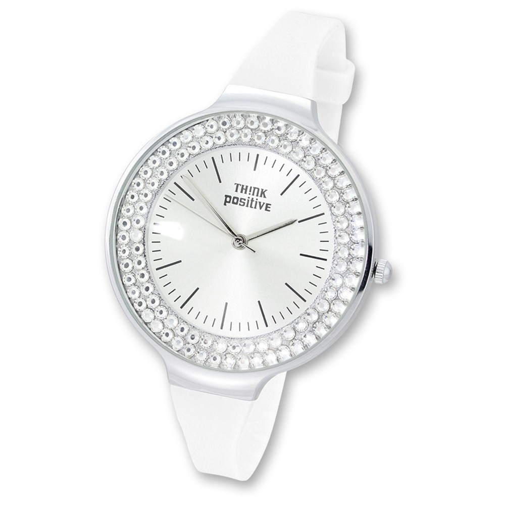 THINK positive Damen Armbanduhr Crystal Analog Quarz Silikon weiß UTP1003W