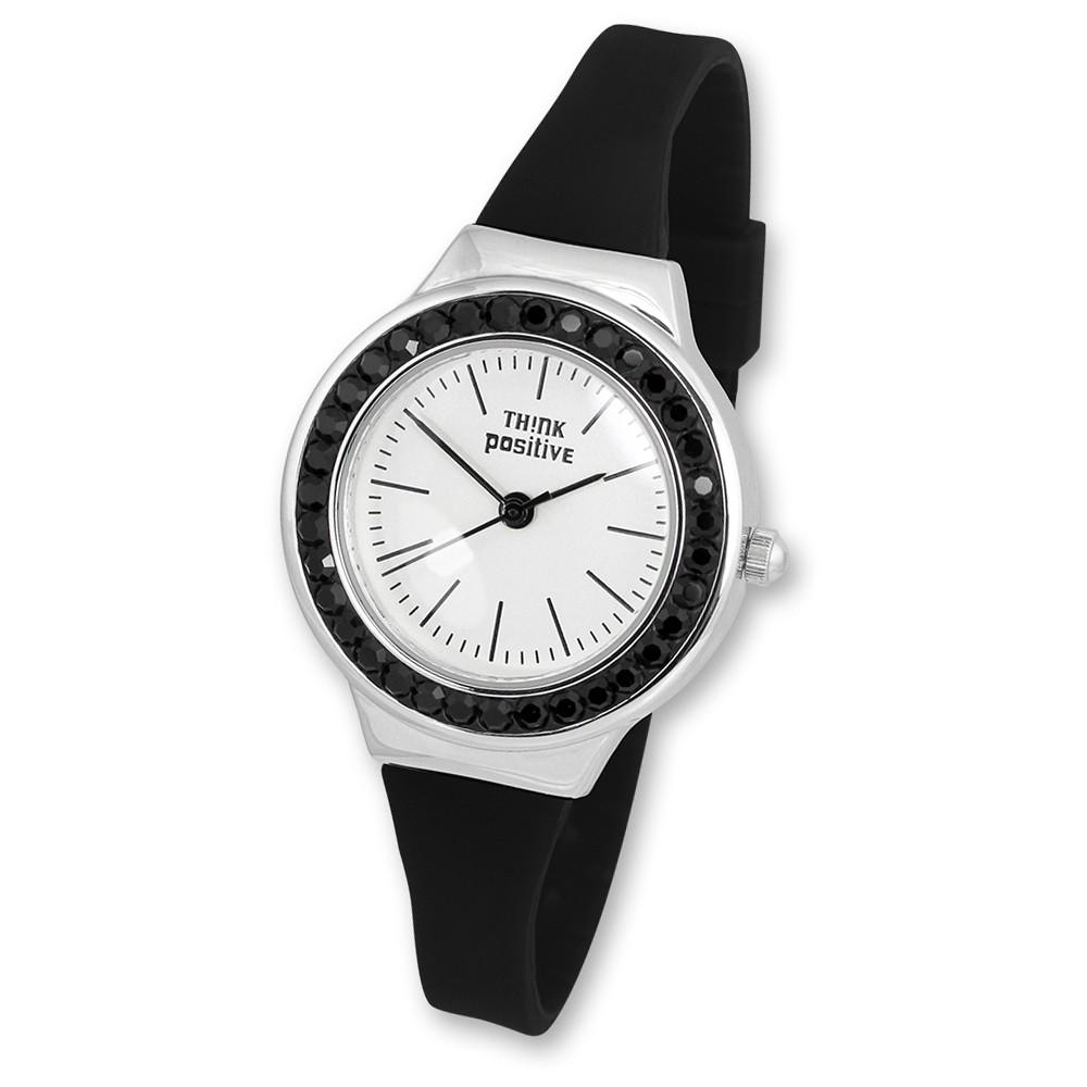 THINK positive Damen Jugend Uhr Crystal Analog Quarz Silikon schwarz UTP1209S
