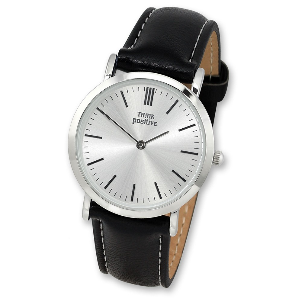 THINK positive Damen Herren Uhr Classic Analog Quarz Leder PU schwarz UTP7060S