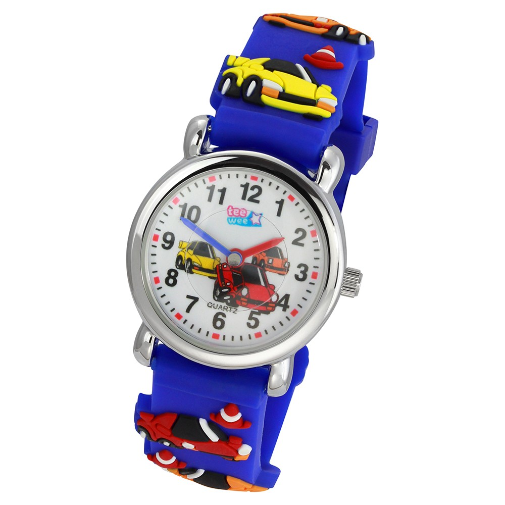Tee-Wee Kinderuhr blau Autos 3D Kautschukband Kinder Uhren UW316B