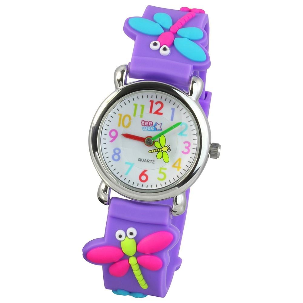 Tee-Wee Kinderuhr lila Libellen 3D Kautschukband Kinder Uhren UW326V