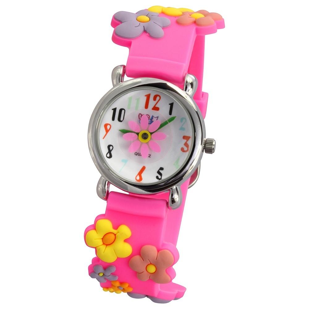 Tee-Wee Kinderuhr pink Blümchen 3D Kautschukband Kinder Uhren UW350P