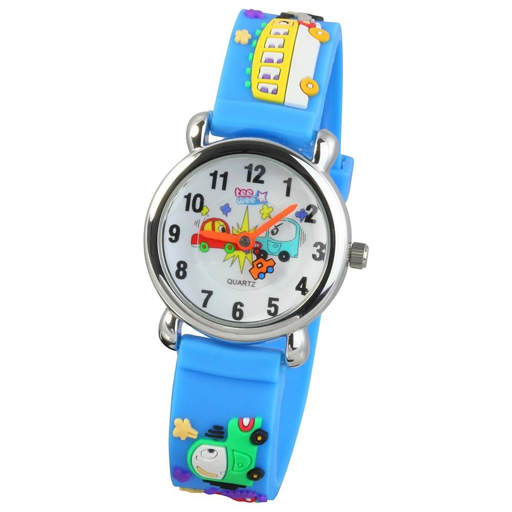 Tee-Wee Kinderuhr hellblau Autos 3D Kautschukband Kinder Uhren UW519H