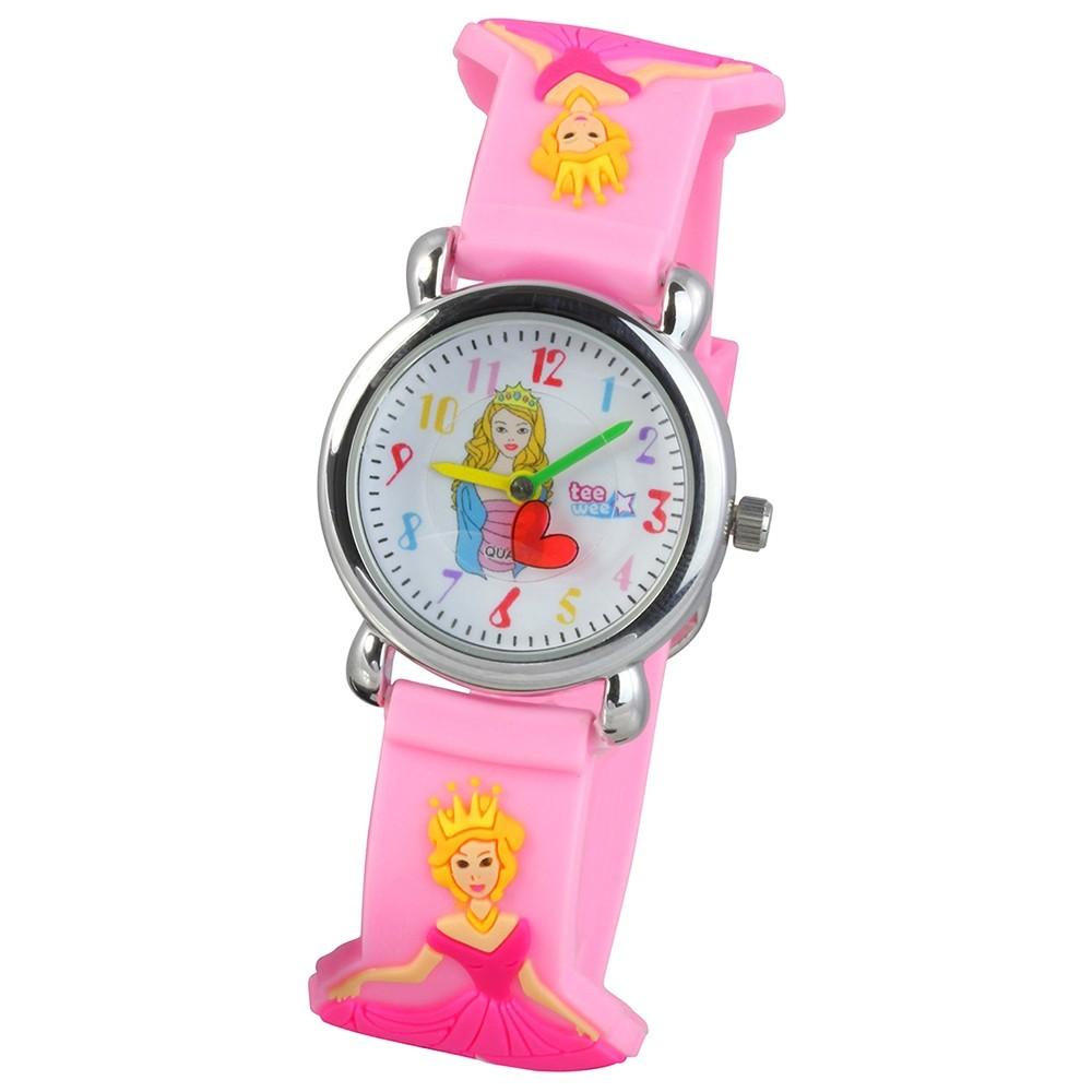 Tee-Wee Kinderuhr rosa Aschenbrödel 3D Kautschukband Kinder Uhren UW559A