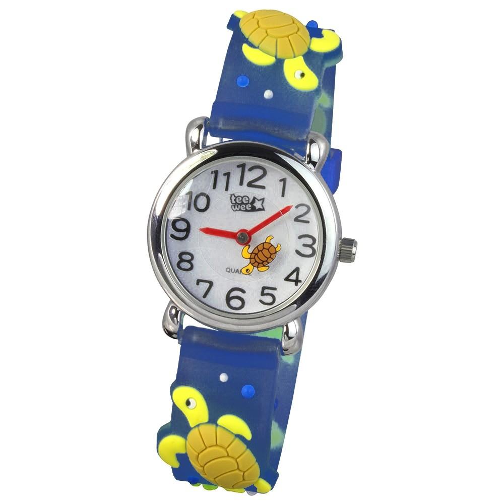 Tee-Wee Kinderuhr blau Schildkröte 3D Kautschukband Kinder Uhren UW925T