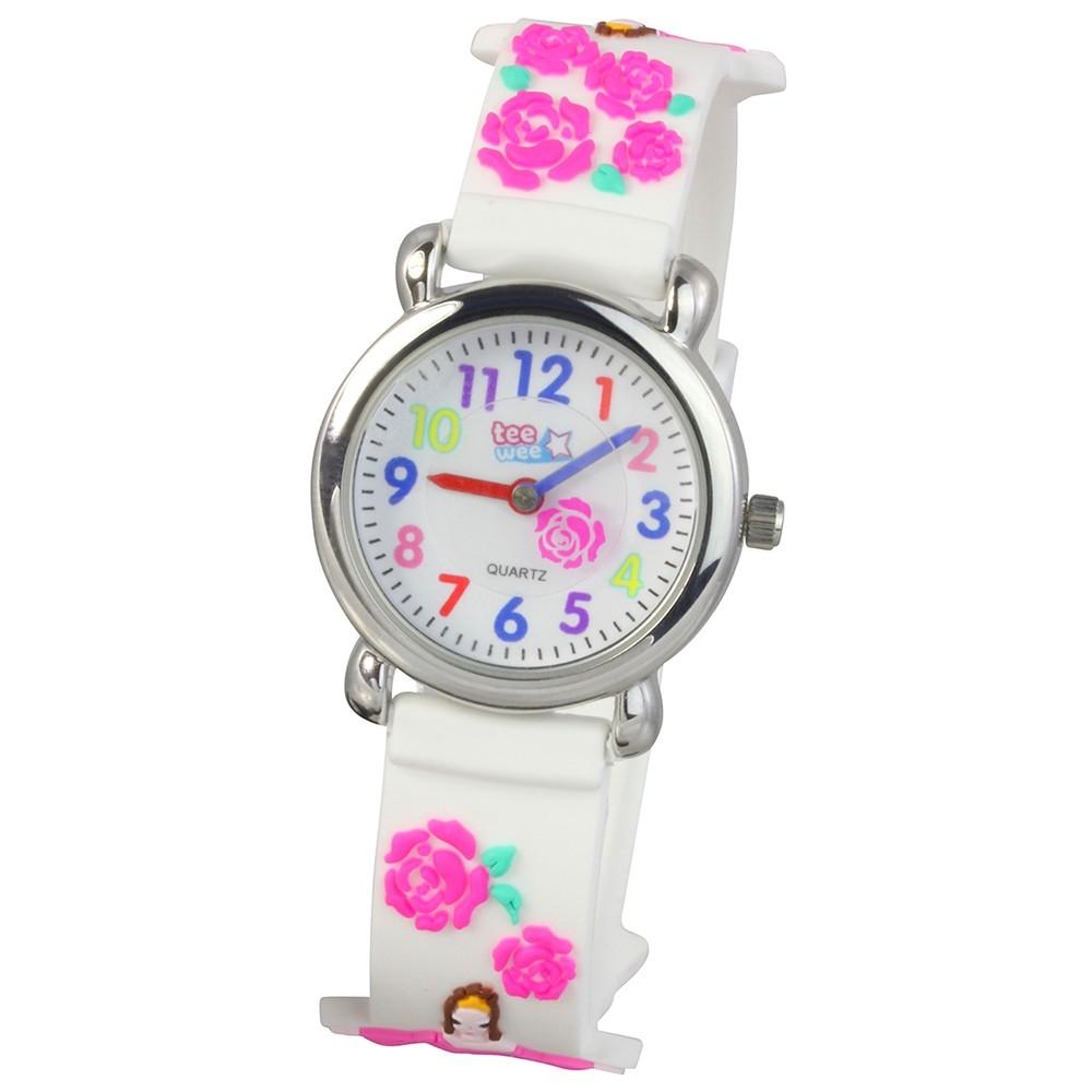 Tee-Wee Kinderuhr weiß Dornröschen 3D Kautschukband Kinder Uhren UW929W
